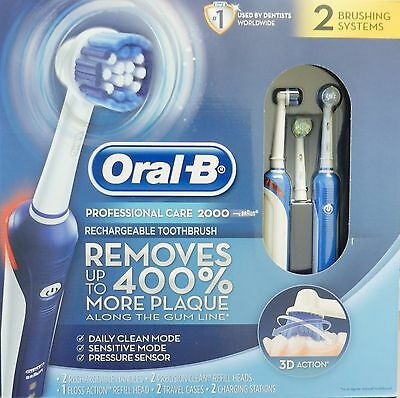NEW Oral-B Pro Care 2000 Dual Handle Rechargeable Electric Toothbrush Sytem