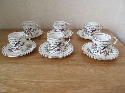 6 x AYNSLEY PEMBROKE  COFFEE CUPS CANS & SAUCERS