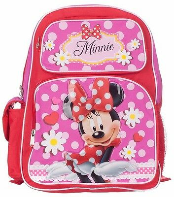 "Disney Minnie Mouse Girls 16"" Kids Large Backpack and Girls School Bag Hot Pink"