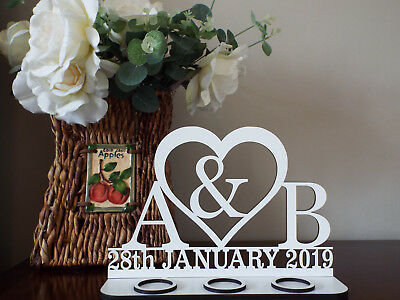 Personalized Tea light holder Initials in my Heart ( initials, date and heart)