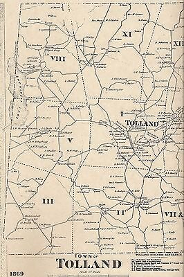 Tolland Snipsic Lake Willimantic River CT 1869 Map with Homeowners Names Shown