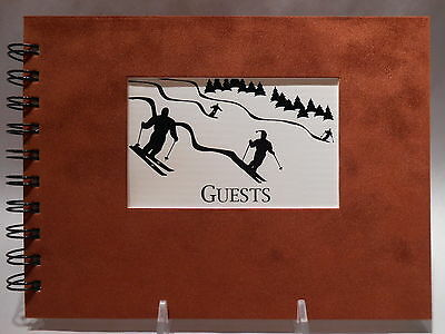 Rustic Lodge Sueded Cover CABIN GUEST BOOK with Downhill Skiers Pattern