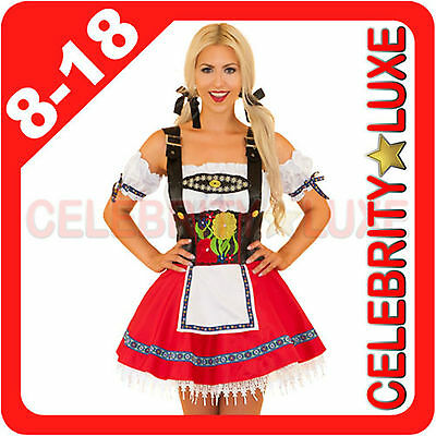 Ladies German Beer Maid Oktoberfest Wench Fancy Dress Costume Red  Embroidered 1eb19904fd04