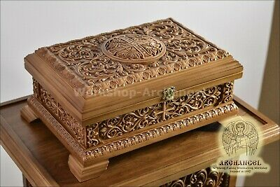"""Orthodox Carved Wooden Reliquary box. Religious Reliquary For Church. Oak 12.60"""""""