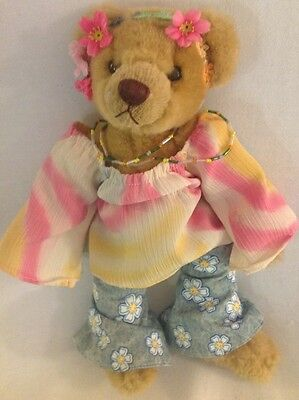 """BRASS BUTTON BEARS Collectible Hippie Bear Ivy 1960s 11"""" Plush Jointed"""