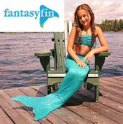 #1 Holiday Gift! Fantasy Fin Safe Swimmable Mermaid Tail & Monofin- Seafoam