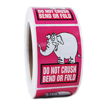 "Pink Elephant ""Do Not Crush Bend or Fold"" Stickers - 3"" by 2"" - 500 ct - SL064F"