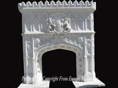 Great Carved Gothic Hand Carved Marble Monumental Fireplace Mantel - Mfp1005