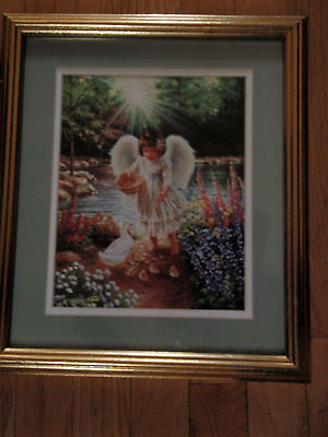 Home Interior Angel barefoot feeding the duck and duckling by Dena Gelsinger
