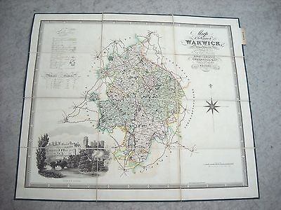 1881 Panel Map The County of Warwick London Published Greenwood & Co.London