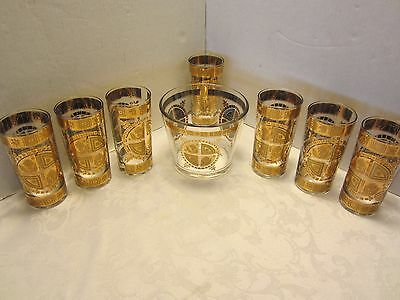 Coronet Culver Glass 22K Gold 7 Tumblers Glasses Set & ice bucked Mid century