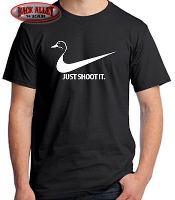 7b6c2141 NEW TEE SHIRT Just Shoot It BIO Duck Parody Fun Funny Nike Swoosh ...
