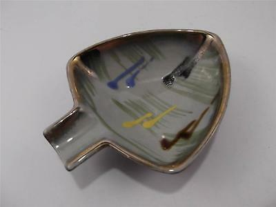 Vintage Mid Century West Germany Pottery Ceramic Personal Ashtray Arrowhead Gold