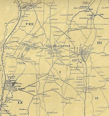 Willington South Willington CT 1869 Map with Businesses and Homeowners Names
