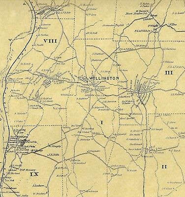 Willington South Willington East CT 1869  Map with Homeowners Names Shown