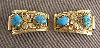 Pair of 14K Gold and Turquoise Southwest Ladies Watch Ends S Lee maker