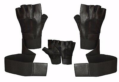 Weight Lifting Leather Padded Body Building Gym Sports Long Wrist Wrap Gloves