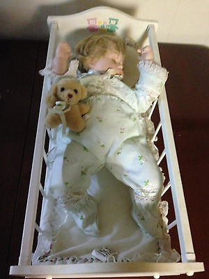Danbury Mint Baby's First Year Sweet Dreams Porcelain Baby Doll Cradle Teddy
