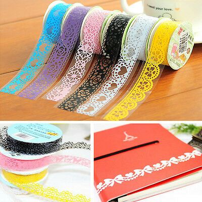 Roll DIY Washi Paper Lace Decorative Sticky Paper Masking Tape SELF Adhesive