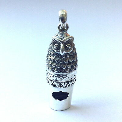 VICTORIAN OWL WHISTLE PENDANT 925 STERLING SILVER