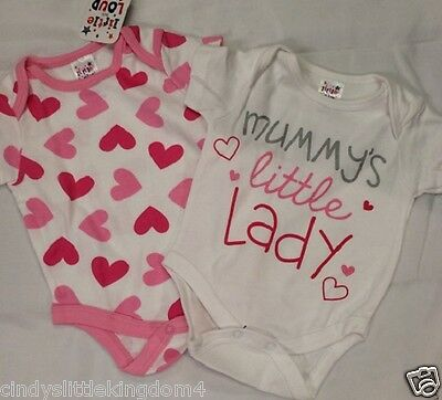 """Baby girls pink hearts """"Mummy's Little Lady"""" pack of 2 bodysuits vests"""