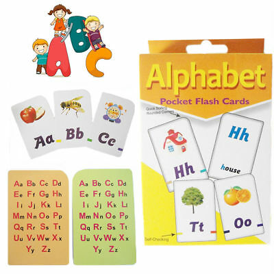 Kids Alphabet Playing Flash Cards Educational Learning Pocket Card Activity NEW
