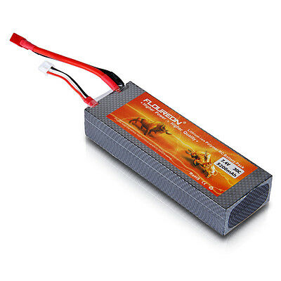 FLOUREON 7.4V 5200mAh 30C 2S Lipo Battery Pack Deans Plug for RC Helicopter