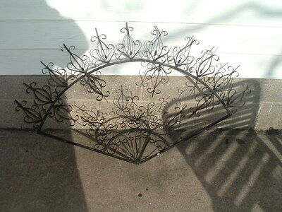 Vintage Black Wrought Iron Architectural Wall Hanging Fan Shaped