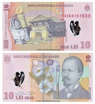 Romania 10 Lei 2012 P-119d Polymer Mint UNC Uncirculated Banknotes