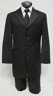 40 R Zoot Suit Mens Black Frock Tuxedo Package w/ Pant Gangster Discount PROM
