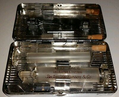 Antique Medical Glass Hypodermic Syringe Set  *Nichel Silver Sterilization Case