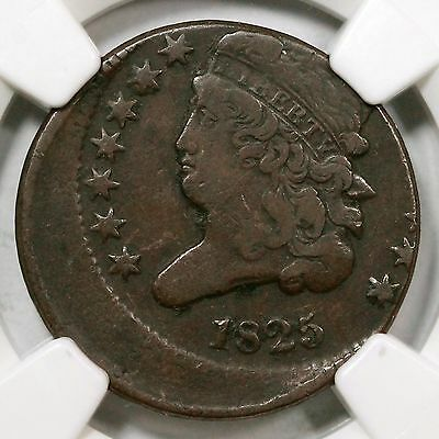 1825 C-2 NGC F12 Off Center Classic Head Half Cent Coin 1/2c