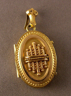 Antique Victorian Gold Filled Ornate Oval Locket w/ Lock of Hair inside as is