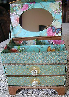 PUNCH STUDIO KIRSHNER DECORATIVE ART COLLECTION FLORAL PAPER BOARD JEWELRY BOX