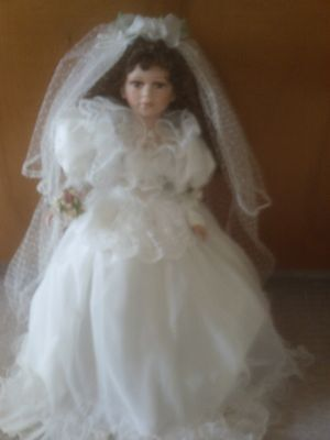 "Cathay Collection Porcelain Exquisite 30"" Wedding Doll With Gorgeous White Gown"