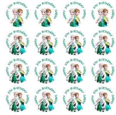 30 Frozen Fever Stickers Lollipop Labels Party Favors 1 1/2 inch Personalize Any