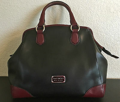 AUTHENTIC IACUCCI LARGE BLACK AND BURGUNDY LEATHER SATCHEL-HANDBAG