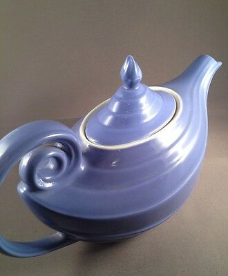 Vintage Hall China Aladdin Genie Blue Teapot W/ Oval Lid -Marked Made In The USA