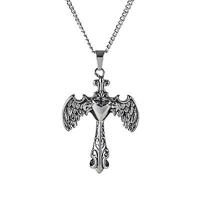 Gothic Winged Cross Pendant & Chain for Men by Urban Male in Stainless Steel