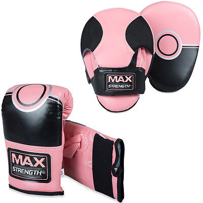 Pink Focus Pads And Bag Gloves Set MMA Boxing Training Mitts Punch Women Fight