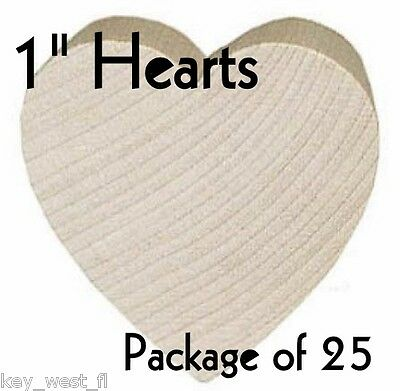 "HEART ~ 1"" ~ Wood Cutout Craft Shape ~ Unfinished { Lot of 25 } ~ by PLD"