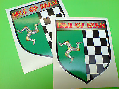ISLE OF MAN Chequered Shield Motorcycle TT Fans Stickers Decals 2 off 100mm