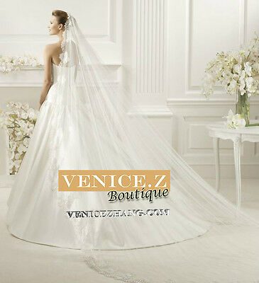 wv24 Soft Lace 2.5m Chapel Cathedral Length Wedding Bridal Veil Ivory White Comb