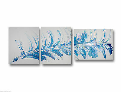 3 ABSTRACT CANVAS PAINTING blue white. Modern wall art artwork Australia