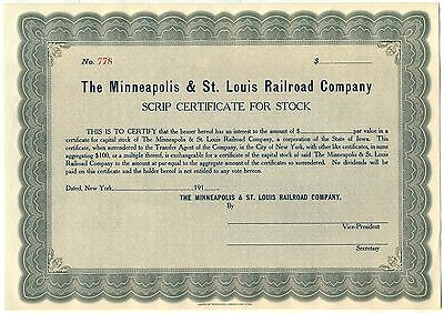 "Minneapolis & St. Louis Railroad Company Stock Certificate ""Peoria Gateway"""
