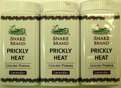 SNAKE BRAND PRICKLY HEAT COOLING POWDER SOOTHING - 50g LAVENDER FREE INT POSTAGE