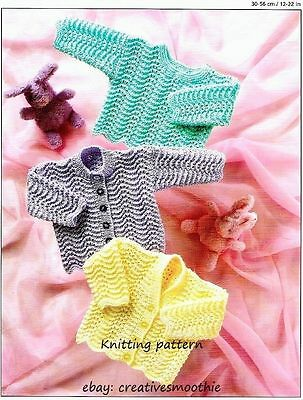 (152) Baby Knitting Pattern Feather Stitch Cardigans & Sweater, Premature 12-22'