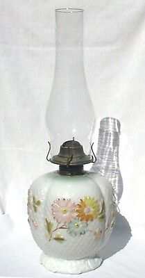 Cosmos Oil Lamp Large Flowers Pink Yellow Blue Consolidated Glass Antique