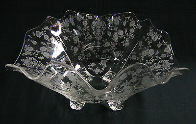 """SCARCE 1930s Cambridge Glass """"Rose Point"""" Large Centerpiece Bowl REDUCED PRICE!"""