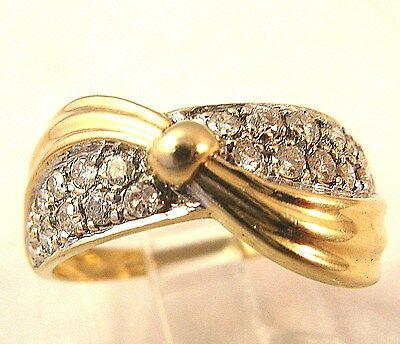 14k Yellow White Gold .55CT Diamond Love Knot Vintage 3.8Gr Ring S 7.25 sizable